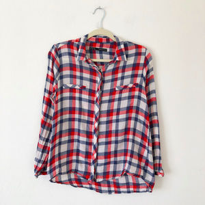 ZARA Basic Red White Blue Plaid Button Down